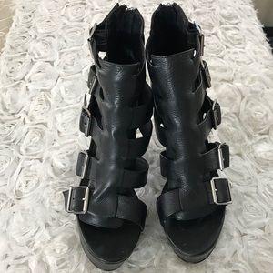 Chunky Strappy Platform Heels